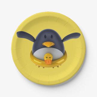 Prato De Papel Pinguim com as placas de papel de um pato de