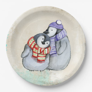 Prato De Papel Pinguins bonitos em Scarves e em chapéus do