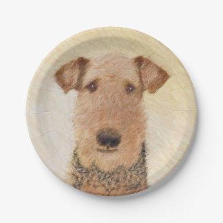Prato De Papel Pintura de Airedale Terrier - arte original bonito