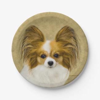Prato De Papel Pintura de Papillon (cão tri) - arte original do