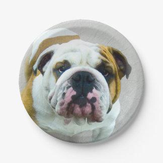 Prato De Papel Pintura do buldogue - arte original bonito do cão