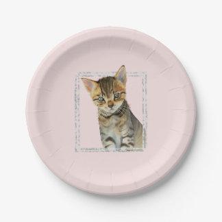 Prato De Papel Pintura do gatinho do gato malhado com quadro de