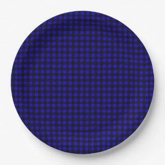 Prato De Papel Piquenique rústico da cabine da xadrez azul do