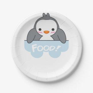 Prato De Papel Placa com fome Finguin da comida de Pinguin e