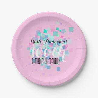 Prato De Papel Placa cor-de-rosa da festa de aniversário P das
