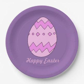Prato De Papel Placa cor-de-rosa do ovo da páscoa