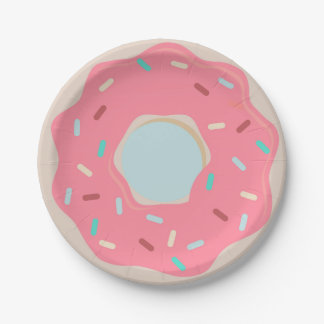 Prato De Papel Placa cor-de-rosa do partido da rosquinha