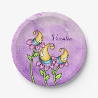 Prato De Papel Placa da flor do Doodle da aguarela da celebração