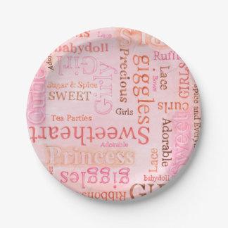 Prato De Papel Placa de papel cor-de-rosa de Girlie do açúcar e