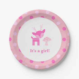 Prato De Papel Placa de papel cor-de-rosa do chá de fraldas dos