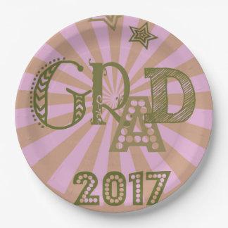 Prato De Papel Placa de papel cor-de-rosa do formando 2017 para