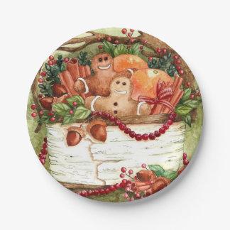 Prato De Papel Placa de papel da cesta do pão-de-espécie do país