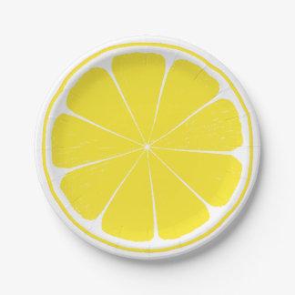 Prato De Papel Placa de papel da fatia amarela brilhante dos