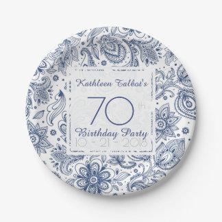 Prato De Papel Placa de papel da festa de aniversário azul do 70
