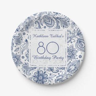 Prato De Papel Placa de papel da festa de aniversário azul do 80