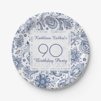 Prato De Papel Placa de papel da festa de aniversário azul do 90