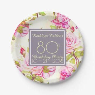 Prato De Papel Placa de papel da festa de aniversário idosa do 80