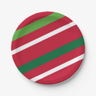 Prato De Papel Placa de papel da listra vermelha e verde