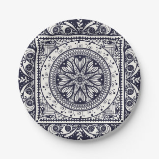 Prato De Papel Placa de papel da meia-noite da mandala azul e