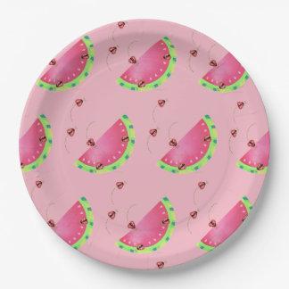 Prato De Papel Placa de papel da melancia do joaninha