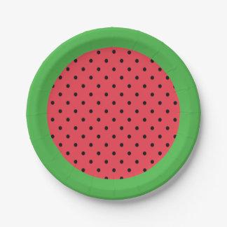 Prato De Papel Placa de papel da melancia, rosa do verde da fruta