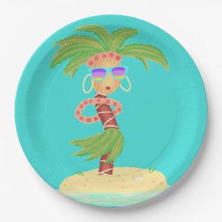 Prato De Papel Placa de papel da palma de Hula