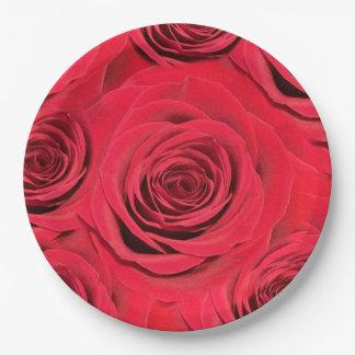 Prato De Papel Placa de papel da rosa vermelha