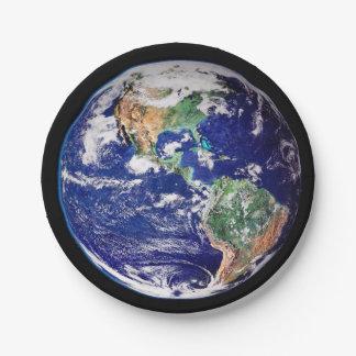 Prato De Papel Placa de papel da terra do planeta