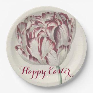 Prato De Papel Placa de papel da tulipa branca & vermelha do