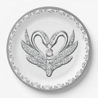 Prato De Papel Placa de papel das cisnes brancas da prata da fita