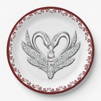 Prato De Papel Placa de papel das cisnes vermelhas da prata da