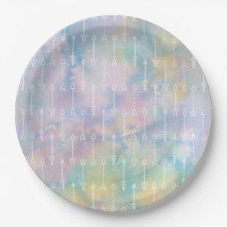 Prato De Papel Placa de papel das setas azuis tribais da aguarela