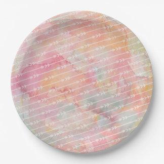 Prato De Papel Placa de papel das setas cor-de-rosa tribais da