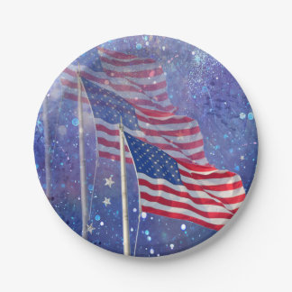 Prato De Papel Placa de papel de 3 bandeiras com fundo estrelado,