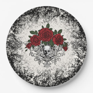 Prato De Papel Placa de papel de esqueleto Glam do vintage
