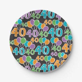 Prato De Papel Placa de papel do aniversário de 40 anos colorido
