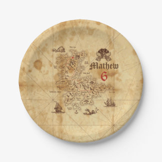 Prato De Papel Placa de papel do aniversário do mapa do tesouro