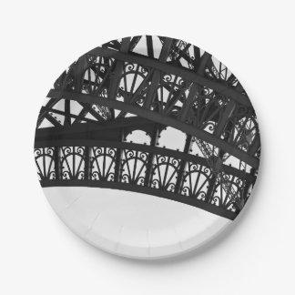 Prato De Papel Placa de papel do arco preto e branco da torre