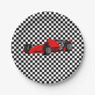 Prato De Papel Placa de papel do carro de corridas vermelho