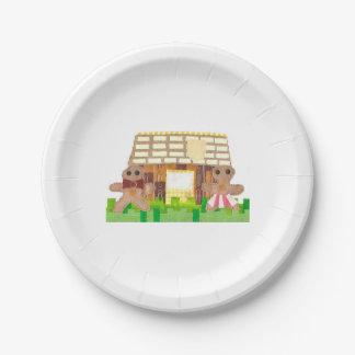 Prato De Papel Placa de papel do casal da casa de pão-de-espécie