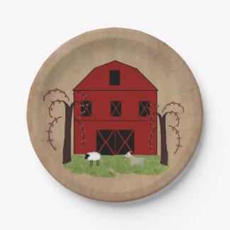 Prato De Papel Placa de papel do celeiro vermelho