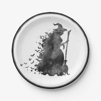 Prato De Papel Placa de papel do Dia das Bruxas da bruxa