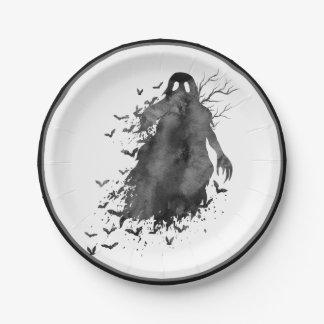 Prato De Papel Placa de papel do Dia das Bruxas do fantasma