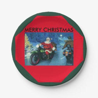 Prato De Papel Placa de papel do FELIZ NATAL da motocicleta