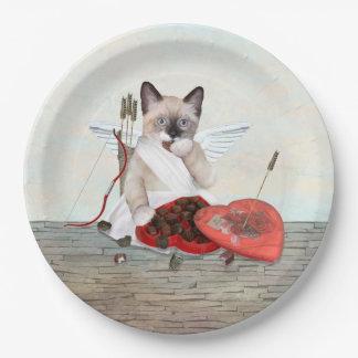 Prato De Papel Placa de papel do gatinho do Cupido