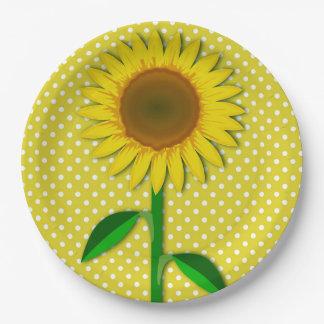Prato De Papel Placa de papel do girassol amarelo ensolarado