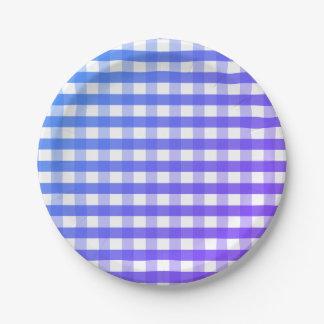 Prato De Papel Placa de papel do guingão branco roxo azul