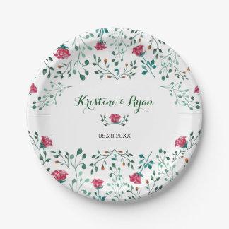 Prato De Papel Placa de papel do jardim de rosas da aguarela