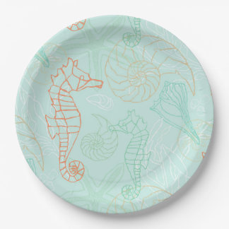 Prato De Papel Placa de papel do motivo do cavalo marinho do