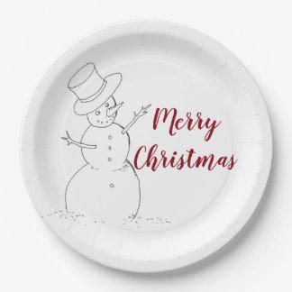 Prato De Papel Placa de papel do Natal do boneco de neve